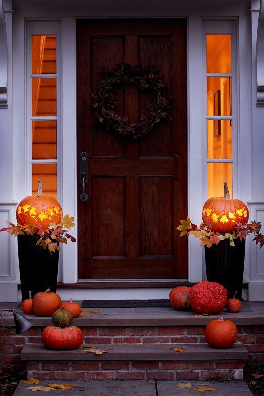 Őszi lombok halloween tök dekoráció